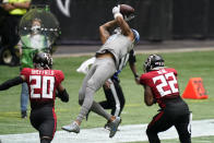 Detroit Lions wide receiver Kenny Golladay (19) makes the catch against Atlanta Falcons strong safety Keanu Neal (22) during the second half of an NFL football game, Sunday, Oct. 25, 2020, in Atlanta. (AP Photo/Brynn Anderson)