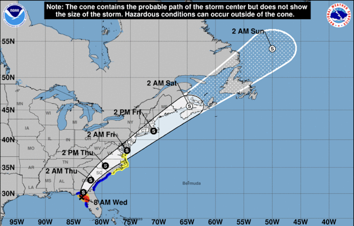 Hurricane Elsa weakened into a tropical storm overnight and is forecast to make landfall in Florida Wednesday.