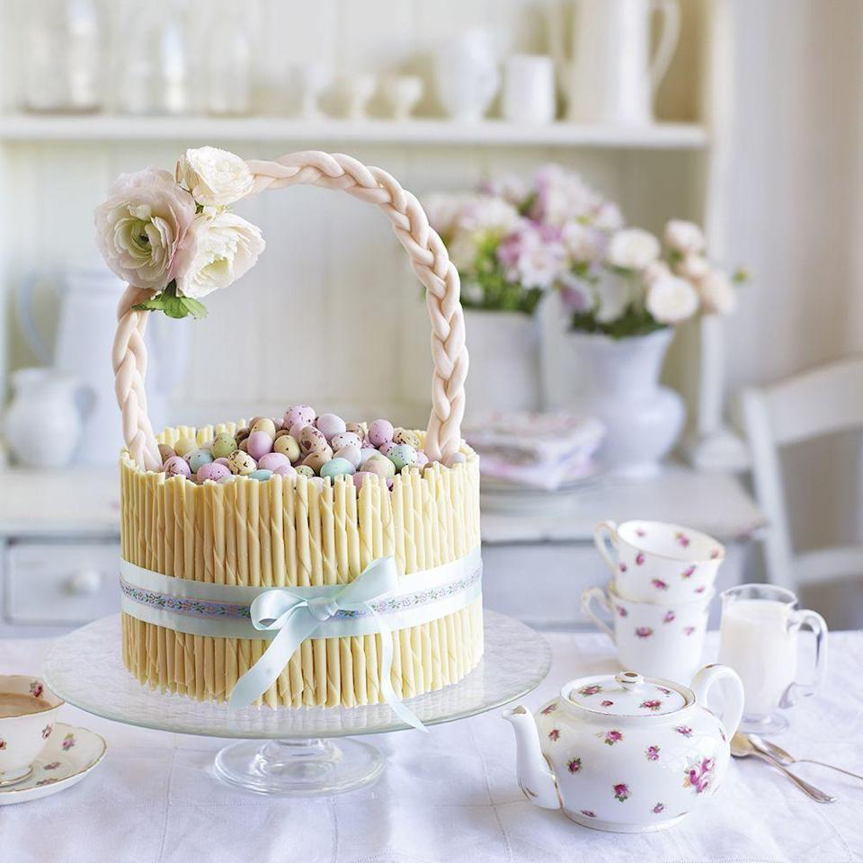 """<p>Cakes don't always have to look like cakes - how about a basket? This gorgeous cake design is well worth the effort.</p><p><strong>Recipe: <a href=""""https://www.goodhousekeeping.com/uk/food/recipes/easter-basket-cake"""" rel=""""nofollow noopener"""" target=""""_blank"""" data-ylk=""""slk:Easter basket cake"""" class=""""link rapid-noclick-resp"""">Easter basket cake</a></strong></p>"""