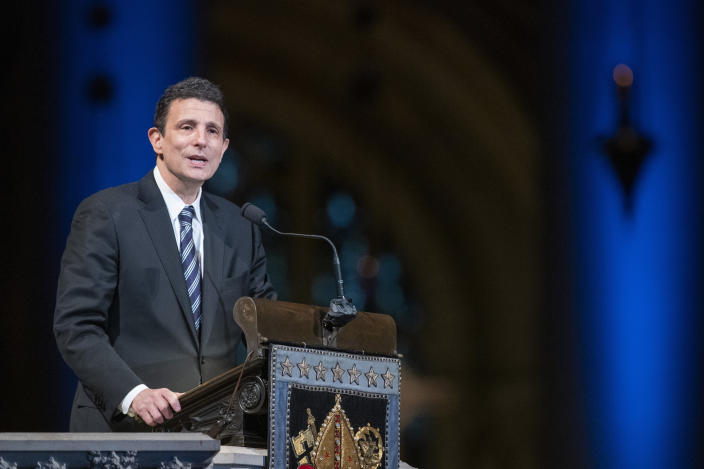 Journalist and writer David Remnick speaks during the Celebration of the Life of Toni Morrison, Thursday, Nov. 21, 2019, at the Cathedral of St. John the Divine in New York. Morrison, a Nobel laureate, died in August at 88. (AP Photo/Mary Altaffer)