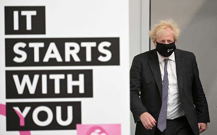 Boris Johnson looked more downbeat than he did after last month's Hartlepool victory - AFP
