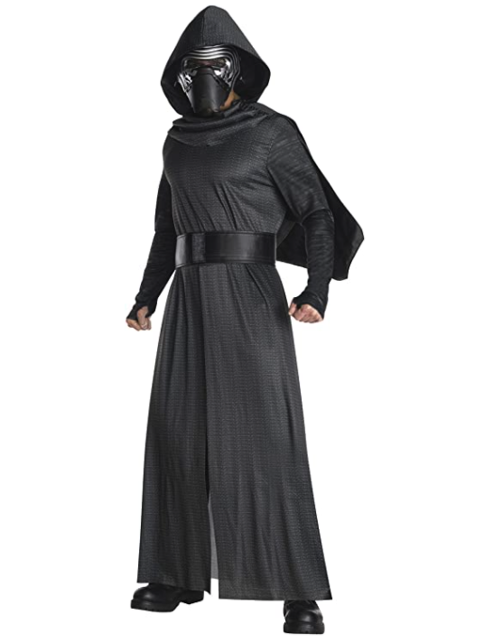 Man wears Kylo Ren Mens Star Wars Costume with cloak and mask