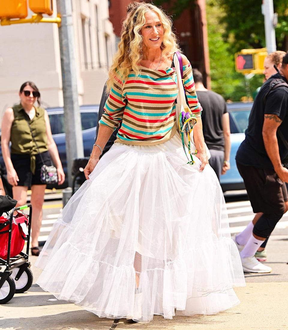 <p>Sarah Jessica Parker is seen on set filming the <em>Sex and the City</em> revival series, <em>And Just Like That…</em>, in New York City on Aug. 27.</p>