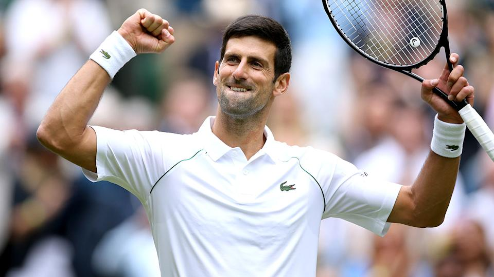 Novak Djokovic, pictured here after his win over Kevin Anderson at Wimbledon.