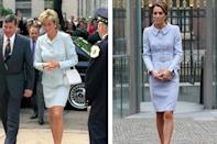 Princess Diana in 1996; Kate Middleton wearing Catherine Walker in 2016
