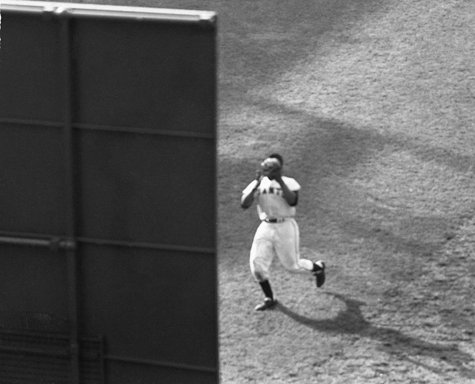 """<p><strong>September 29, 1954</strong>: With the first game of the '54 World Series on the line, star Giants outfielder Willie Mays makes perhaps the most iconic catch in baseball history. In the eighth inning with two runners on base, the Indians' Vic Wertz pokes a ball to center. Mays races to the wall and gathers in the 450-foot fly. Then, with his back turned to home plate, Mays whirls and fires the ball to the infield. His cap comes off, his body spins, and Mays falls flat on his belly. """"It's a sensational play that ended up saving two runs and giving the Giants enough momentum to win their first World Series since 1933,"""" says Frommer.<br> </p>"""