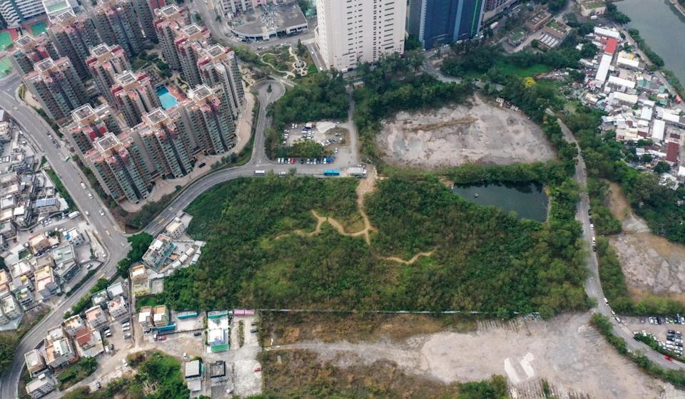 An aerial view of the site in Yuen Long set aside for a HK$990 million transitional housing project. Photo: Winson Wong