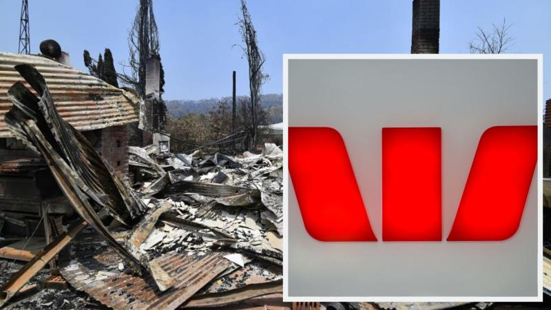 Pictured: Home destroyed by Australian bushfires, Westpac logo. Images: Getty