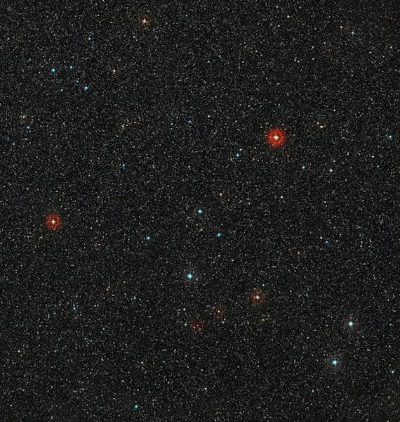 This picture shows the sky around the young star HD 95086 in the southern constellation of Carina (The Keel). It was created from images from the Digitized Sky Survey 2.