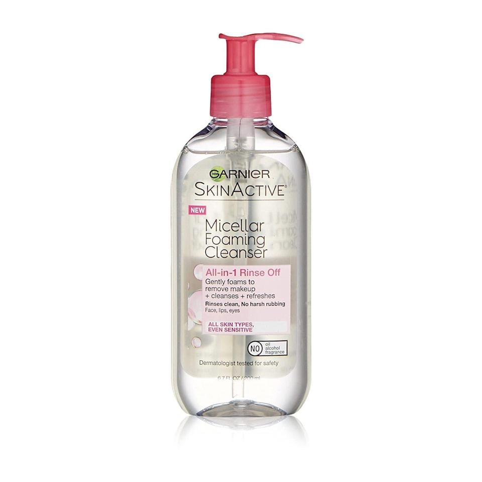"""This bubbly cleanser is another iteration of Garnier's <a href=""""https://www.allure.com/review/garnier-skinactive-micellar-cleansing-water-all-in-1-makeup-remover-cleanser?mbid=synd_yahoo_rss"""" rel=""""nofollow noopener"""" target=""""_blank"""" data-ylk=""""slk:Best of Beauty-winning"""" class=""""link rapid-noclick-resp"""">Best of Beauty-winning</a> Micellar Cleansing Water, so it's no shocker it can remove even heavy eye makeup with just a little water and handiwork. According to cosmetic chemist Joseph Cincotta, the micellar water in this formula works when its molecules group together and """"act like magnets for dirt and oil."""""""