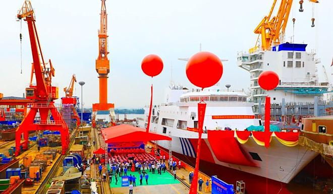 The patrol ship was launched in Guangzhou on Tuesday. Photo: CNR