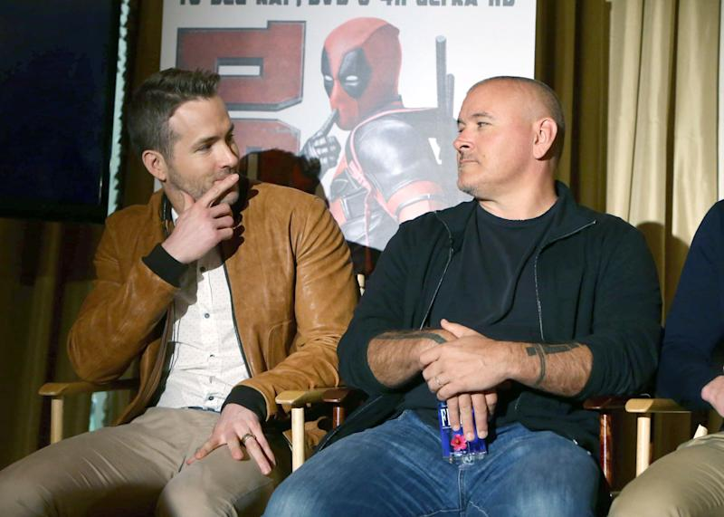 "EXCLUSIVE - Ryan Reynolds and Director Tim Miller seen at ""DEADPOOL"" Blu-ray and DVD Press Event on Monday, April 11, 2016, in Beverly Hills, CA. (Photo by Eric Charbonneau/Invision for Twentieth Century Fox Home Entertainment/AP Images)"