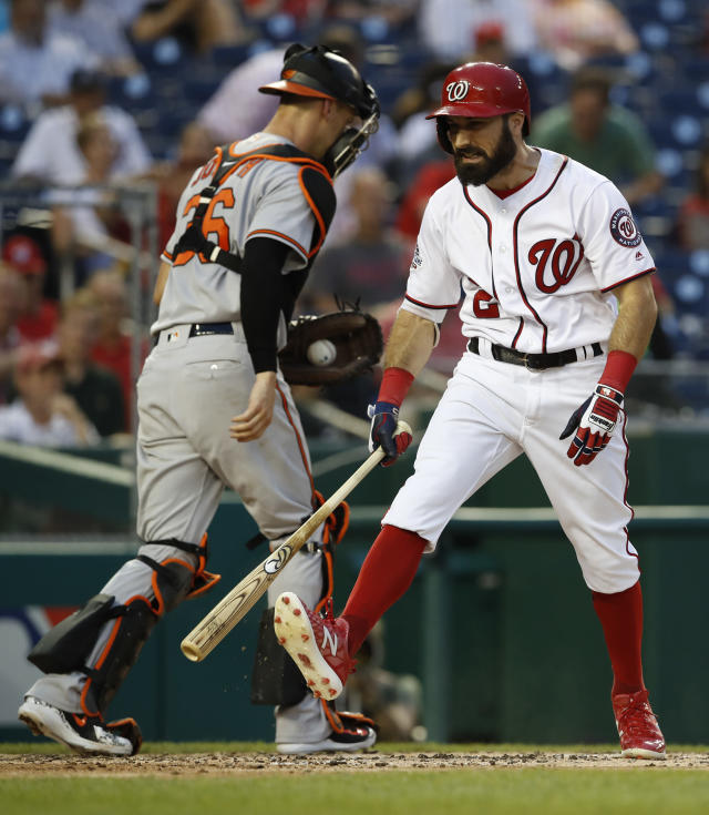 Washington Nationals' Adam Eaton (2) reacts after striking out swinging for the third out of the third inning as Baltimore Orioles catcher Caleb Joseph (36) walks off the field during a baseball game at Nationals Park, Wednesday, June 20, 2018, in Washington. (AP Photo/Carolyn Kaster)
