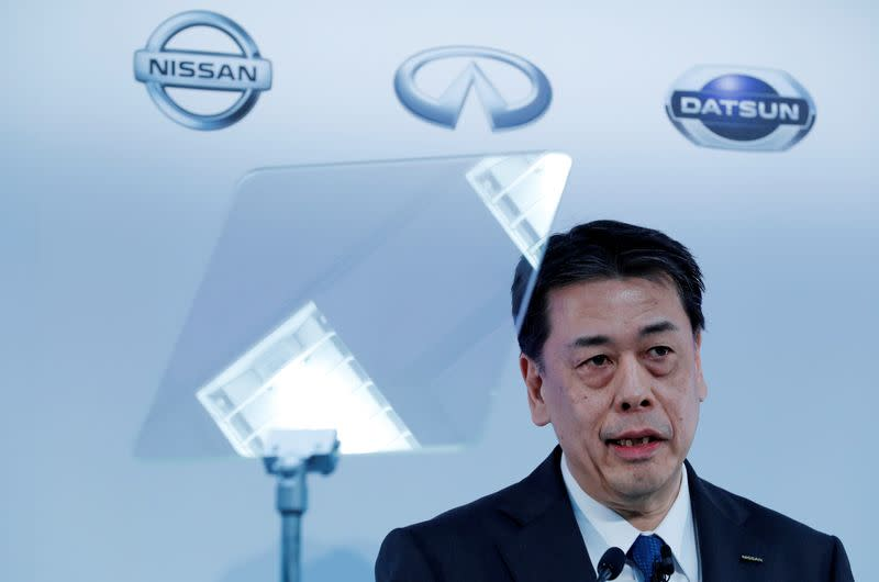 Nissan Motor Co CEO Makoto Uchida speaks during a news conference at the company's headquarters in Yokohama