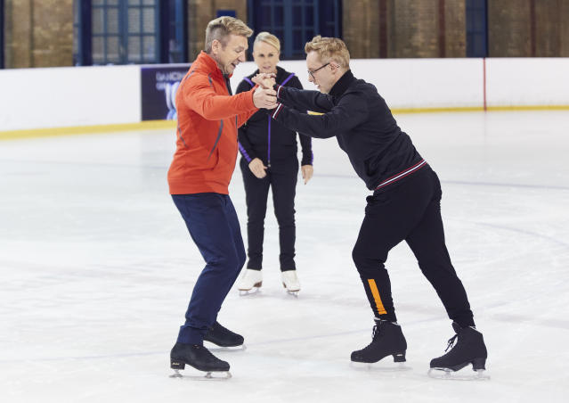 H from Steps trains for <em>Dancing On Ice</em> with Jayne Torvill and Christopher Dean. (ITV)