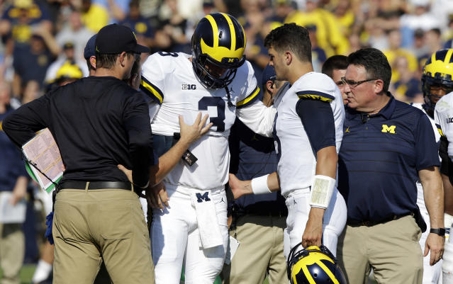 "Jim Harbaugh: Michigan QB <a class=""link rapid-noclick-resp"" href=""/ncaaf/players/239136/"" data-ylk=""slk:Wilton Speight"">Wilton Speight</a> has ""cracks"" in back (Update)"