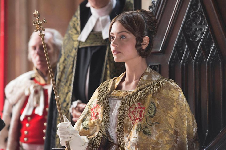 A young Queen Victoria (Jenna Coleman) takes her place in British history in Masterpiece's 'Victoria.'