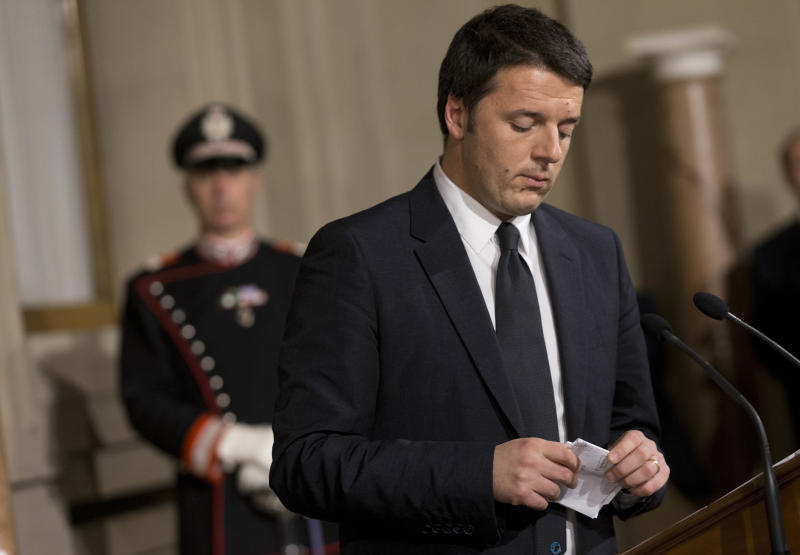 "Italian Premier designate Matteo Renzi meets reporters at the Quirinale presidential palace, Rome, Friday, Feb. 21, 2014. Democratic Party leader Matteo Renzi has formed Italy's new government, saying the broad coalition aims to give the economically-strapped country ""hope. When he and his Cabinet are sworn in on Saturday, Renzi, who had been serving as Florence mayor, will be Italy's youngest premier. Renzi said Friday he aims with his leadership to give a ""strong message"" to the international community that Italy will be achieving sorely needed electoral and economic reforms quickly. (AP Photo/Alessandra Tarantino)"