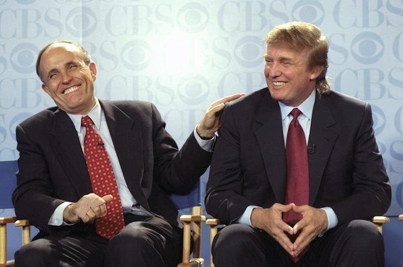 "New York Mayor Rudy Giuliani and Donald Trump at a May 1999 news conference at the GM Building, where CBS announced that Bryant Gumbel will be the host of its new morning news program, ""This Morning."" The show would be broadcast from Trump's International Plaza Building."