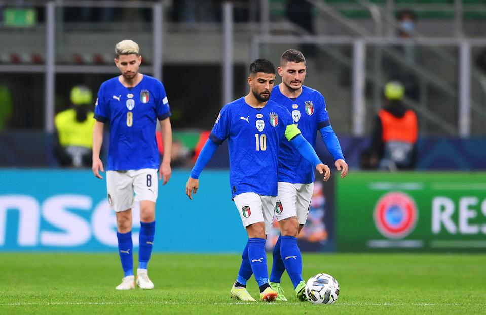 MILAN, ITALY - OCTOBER 06: Lorenzo Insigne and Marco Verratti of Italy look dejected after their side concedes a second goal scored by Ferran Torres of Spain (not pictured) during the UEFA Nations League 2021 Semi-final match between Italy and Spain at San Siro Stadium on October 06, 2021 in Milan, Italy. (Photo by Laurence Griffiths/Getty Images)
