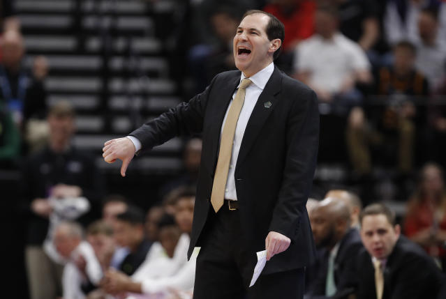 Baylor coach Scott Drew gestures during the first half of the team's first-round game against Syracuse in the NCAA mens college basketball tournament Thursday, March 21, 2019, in Salt Lake City. (AP Photo/Jeff Swinger)