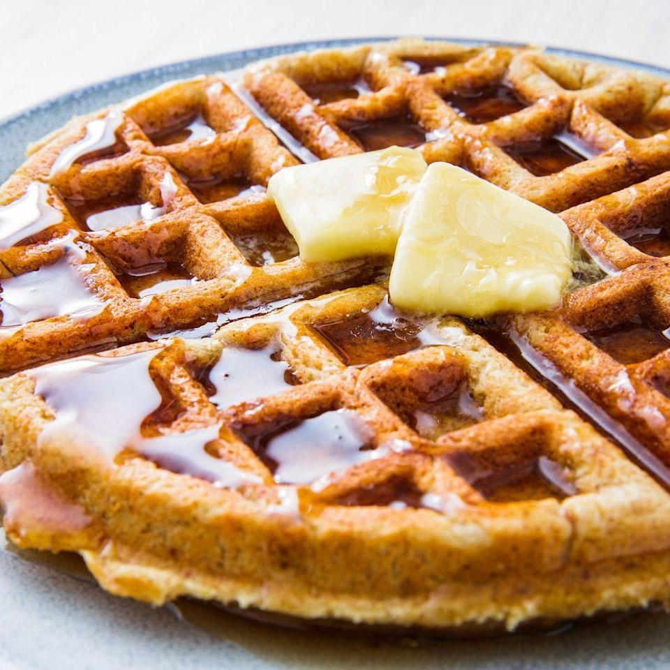 """<p>Almond flour and a keto-friendly sweetener are used in place of flour and sugar. Almond butter and butter provide the fat. Remember fat=good on this diet. And these waffles will keep you full and satisfied for hours.</p><p>Get the <a href=""""https://www.delish.com/uk/cooking/recipes/a31938541/keto-waffles-recipe/"""" rel=""""nofollow noopener"""" target=""""_blank"""" data-ylk=""""slk:Almond Flour Keto Waffles"""" class=""""link rapid-noclick-resp"""">Almond Flour Keto Waffles</a> recipe. </p>"""