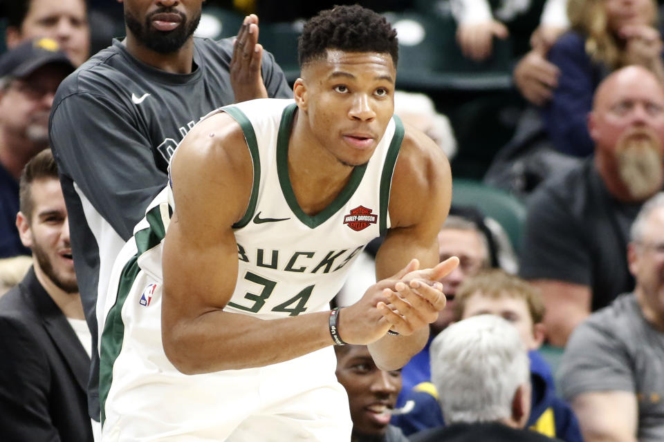 INDIANAPOLIS, INDIANA - NOVEMBER 16: Giannis Antetokounmpo #34 of the Milwaukee Bucks celebrates after a play in the game against the Indiana Pacers at Bankers Life Fieldhouse on November 16, 2019 in Indianapolis, Indiana. NOTE TO USER: User expressly acknowledges and agrees that, by downloading and/or using this Photograph, user is consenting to the terms and conditions of the Getty Images License Agreement. (Photo by Justin Casterline/Getty Images)