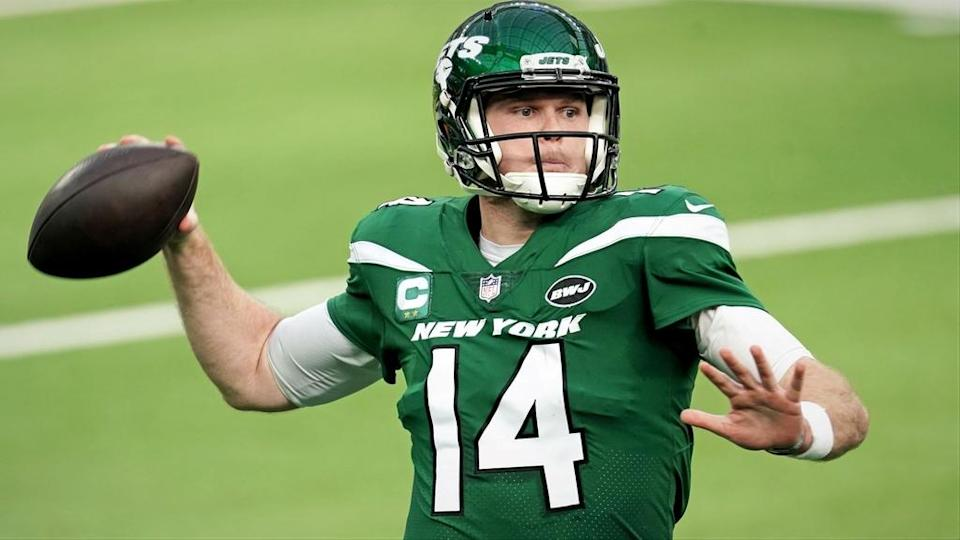 New York Jets quarterback Sam Darnold pass vs Los Angeles Rams
