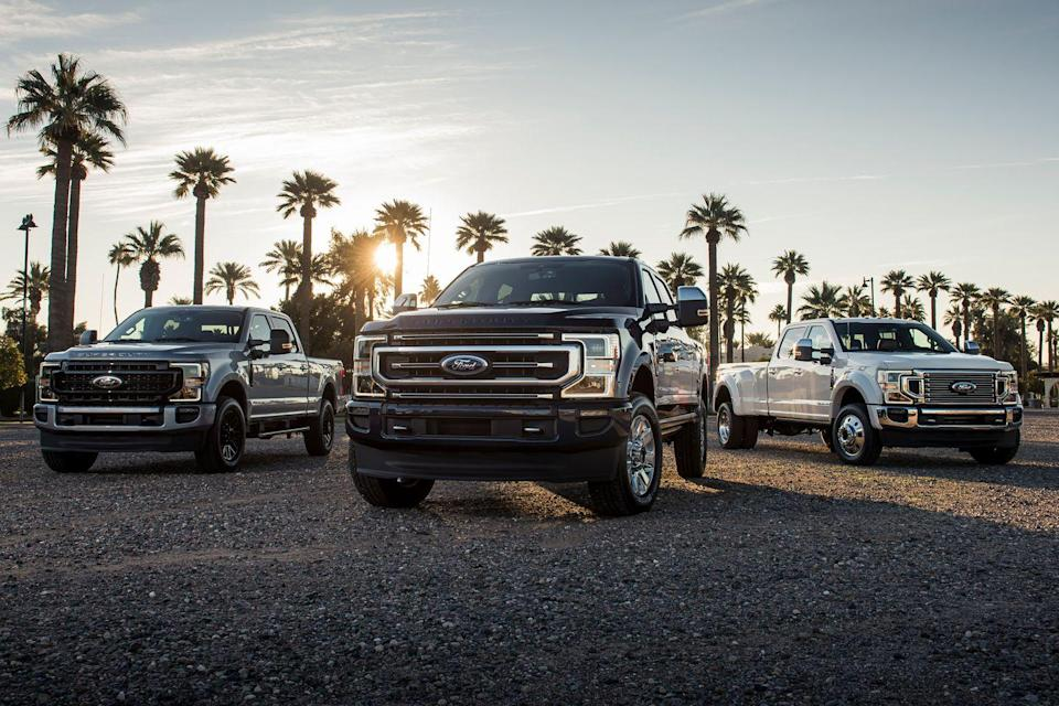 "<p>Heavy-duty trucks are more powerful and capable than ever, and the <a href=""https://www.caranddriver.com/ford/super-duty"" rel=""nofollow noopener"" target=""_blank"" data-ylk=""slk:2021 Ford Super Duty"" class=""link rapid-noclick-resp"">2021 Ford Super Duty</a> is one of the most powerful. Its Power Stroke diesel engine develops 1050 lb-ft of torque, and the mightiest model can tow 37,000 pounds. Both those stats are slightly behind the <a href=""https://www.caranddriver.com/ram/2500-3500"" rel=""nofollow noopener"" target=""_blank"" data-ylk=""slk:2021 Ram HD"" class=""link rapid-noclick-resp"">2021 Ram HD</a> but ahead of heavy-duty versions of the <a href=""https://www.caranddriver.com/chevrolet/silverado-2500hd-3500hd"" rel=""nofollow noopener"" target=""_blank"" data-ylk=""slk:Chevy Silverado"" class=""link rapid-noclick-resp"">Chevy Silverado</a> and <a href=""https://www.caranddriver.com/gmc/sierra-2500hd-3500hd"" rel=""nofollow noopener"" target=""_blank"" data-ylk=""slk:GMC Sierra"" class=""link rapid-noclick-resp"">GMC Sierra</a>. While those credentials are great for advertisements, the Super Duty succeeds most at being a versatile truck that can be configured as a stripped-down workhouse or a seriously luxurious towing machine and everything in between. Along with the diesel engine option, there's the standard 6.2-liter gasoline V-8 that makes 430 lb-ft of torque or an optional 7.3-liter gas V-8 that cranks out 475 lb-ft. All of that capability, plus its myriad modern technologies and apartment-sized crew cab, makes it easy to look past its cheap cabin pieces and clumsy highway habits.</p><p><a class=""link rapid-noclick-resp"" href=""https://www.caranddriver.com/ford/super-duty"" rel=""nofollow noopener"" target=""_blank"" data-ylk=""slk:Review, Pricing, and Specs"">Review, Pricing, and Specs</a></p>"