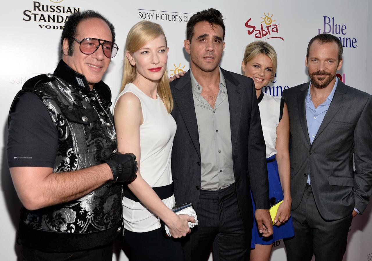 "BEVERLY HILLS, CA - JULY 24:  (L-R) Actors Andrew Dice Clay, Cate Blanchett, Bobby Cannavale, Ali Fedotowsky and Peter Sarsgaard arrive at the premiere of ""Blue Jasmine"" hosted by AFI & Sony Picture Classics at AMPAS Samuel Goldwyn Theater on July 24, 2013 in Beverly Hills, California.  (Photo by Frazer Harrison/Getty Images for AFI)"