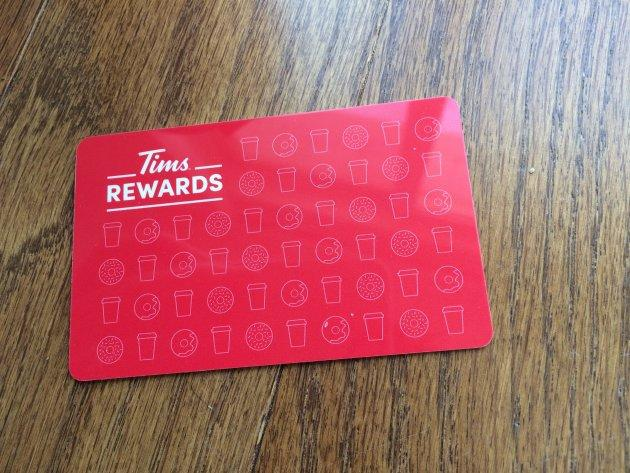 Customers can get a plastic rewards card at Tim Hortons locations, or use an app instead.
