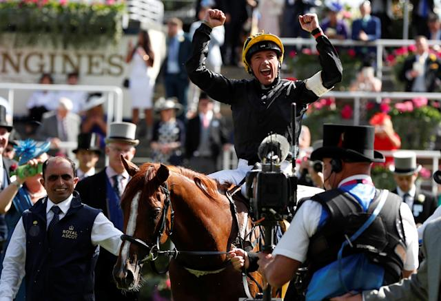 Horse Racing - Royal Ascot - Ascot Racecourse, Ascot, Britain - June 21, 2018 Frankie Dettori celebrates on Stradivarius after winning the 4.20 Gold Cup Action Images via Reuters/Paul Childs