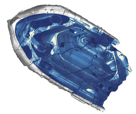 A 4.4 billion-year-old zircon crystal from the Jack Hills region of Australia is pictured in this handout photo