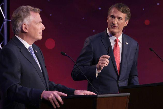 Glenn Youngkin (right), the GOP nominee for governor in Virginia, has flirted with Donald Trump's election conspiracies throughout the contest. But surrogates like state Sen. Amanda Chase are still generating new lies about Democratic efforts to