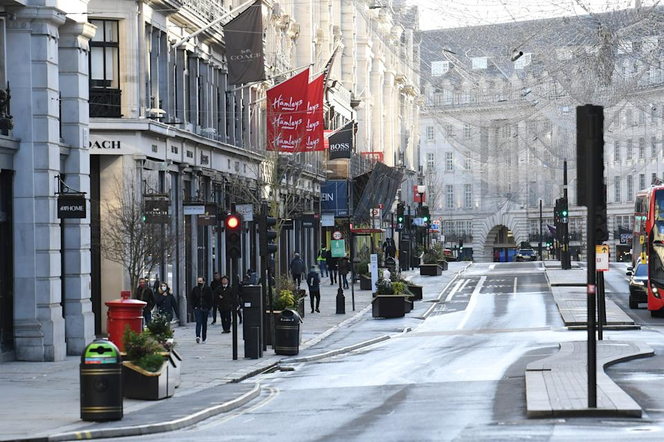 Busy shopping streets like Regent Street were left deserted following Saturday's announcement. (PA)