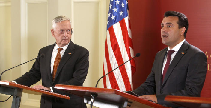 U.S. Defense Secretary James Mattis, left, looks at Macedonian Prime Minister Zoran Zaev, right, during a press conference following their meeting at the government building in Skopje, Macedonia, Monday, Sept. 17, 2018. Mattis arrived in Macedonia Monday, condemning Russian efforts to use its money and influence to build opposition to an upcoming vote that could pave the way for the country to join NATO, a move Moscow opposes. (AP Photo/Boris Grdanoski)