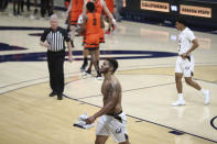 California forward Matt Bradley walks off the court after the team's loss to Oregon State in an NCAA college basketball game in Berkeley, Calif., Thursday, Feb. 25, 2021. (AP Photo/Jed Jacobsohn)