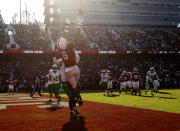 CORRECTS ID TO ELIJAH HIGGINS NOT JAYLON REDD - Stanford's Elijah Higgins catches a touchdown against Oregon during the second half of an NCAA college football game in Stanford, Calif., Saturday, Oct. 2, 2021. (AP Photo/Jed Jacobsohn)
