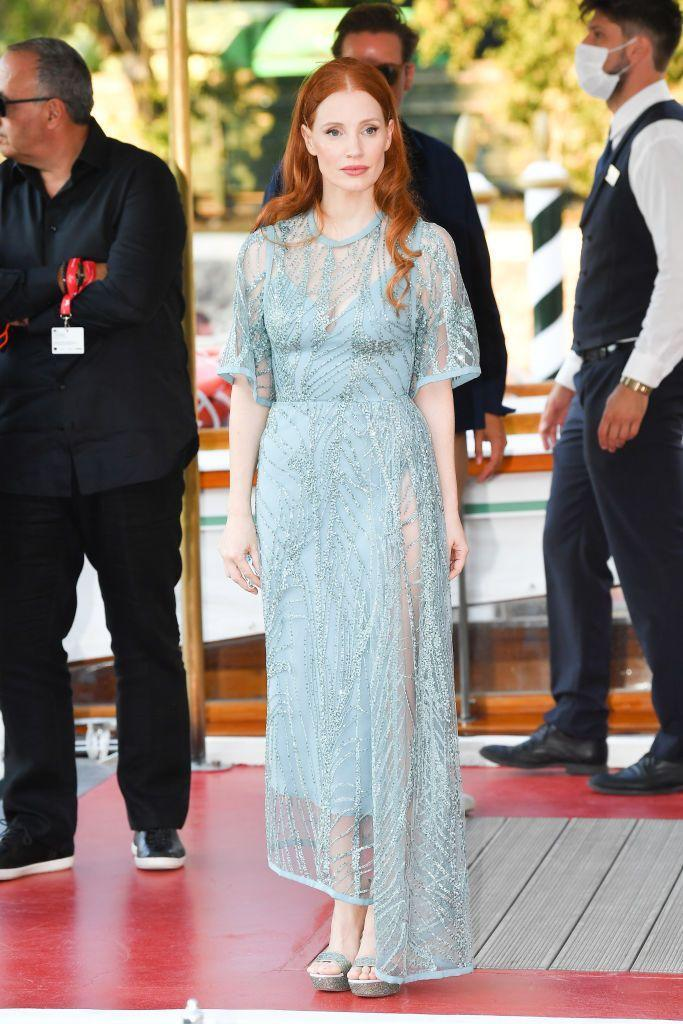<p>Chastain wore a light blue and sheer Elie Saab dress to arrive at the film festival. </p>