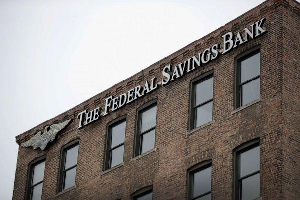 PHOTO:A sign hangs above the headquarters of The Federal Savings Bank, Feb. 23, 2018, in Chicago. (Scott Olson/Getty Images)