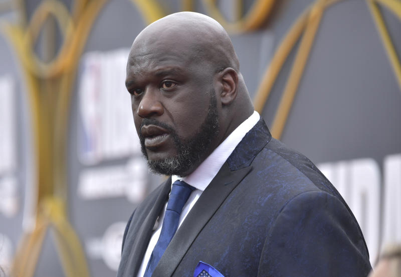 Shaquille O'Neal arrives at the NBA Awards on Monday, June 24, 2019, at the Barker Hangar in Santa Monica, Calif. (Photo by Richard Shotwell/Invision/AP)