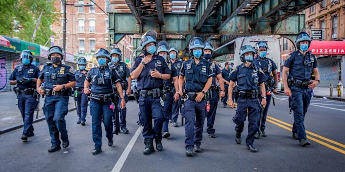 Heavy police presence in Brooklyn, New York, following a protest on June 12, 2020 in New York City.