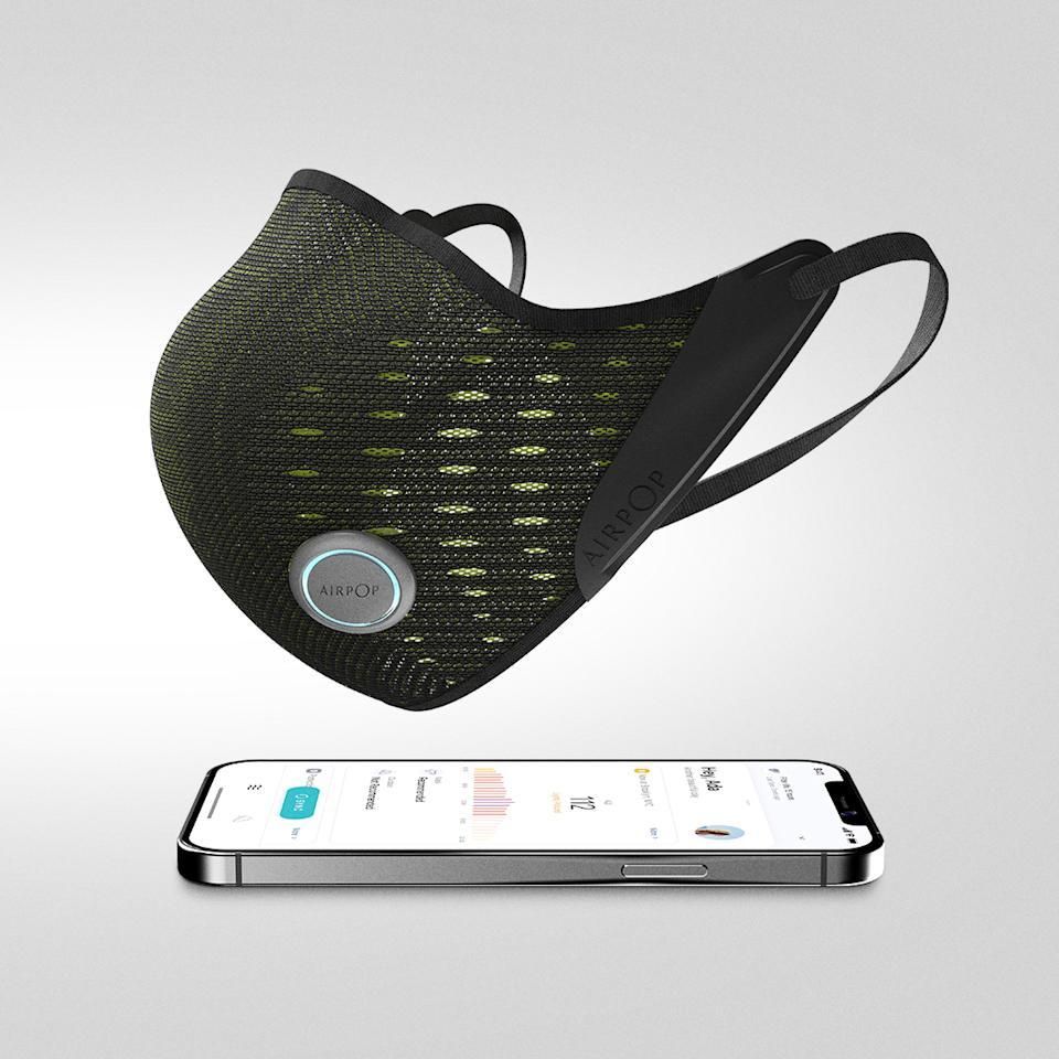 The mask comes with its own iOS and Android app (Airpop)