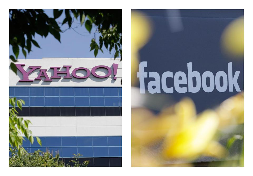 FILE - This combination of 2012 file photos shows the logos of Yahoo, left, and Facebook, outside their offices in Santa Clara, Calif. and Menlo Park, Calif. The two companies have agreed to settle a patent dispute on Friday, July 6, 2012, averting a potentially bitter battle over the technology running two of the Internet's most popular destinations. (AP Photo/Paul Sakuma)