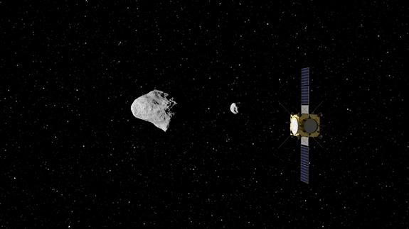 ESA's Asteroid Impact Mission concept, currently under study, would be humanity's first mission to a binary asteroid: the 800 m-diameter Didymos is accompanied by a 170 m-diameter secondary body.