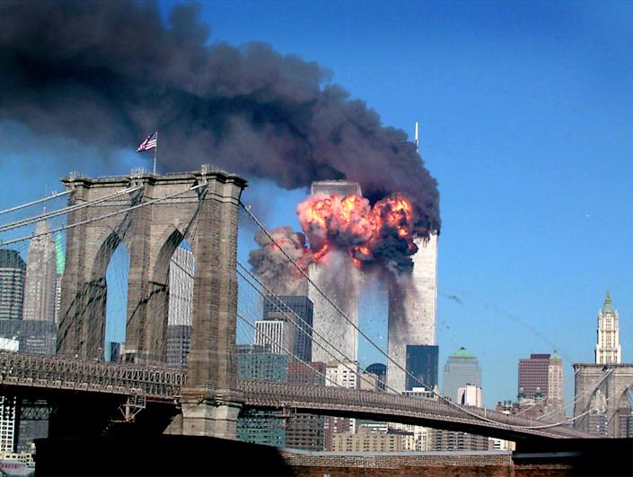 The World Trade Center burns after being hit by a plane in New York, September 11, 2001. (Reuters)