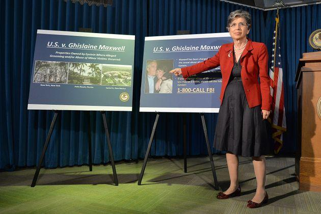 Audrey Strauss, acting US attorney for the Southern District of New York, speaks during a news conference to announce charges against Ghislaine Maxwell.