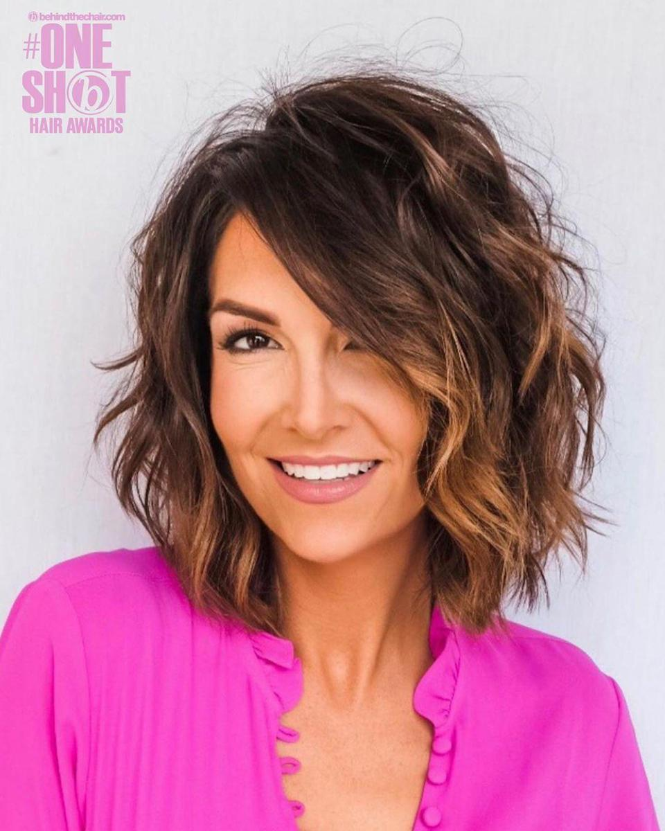 <p>This look is all about volume. Ask your stylist for square layer cuts on dry hair with point cuts for added movement and softness, Chris Jones says. A volumizing mousse can also be used for added oompf.</p>