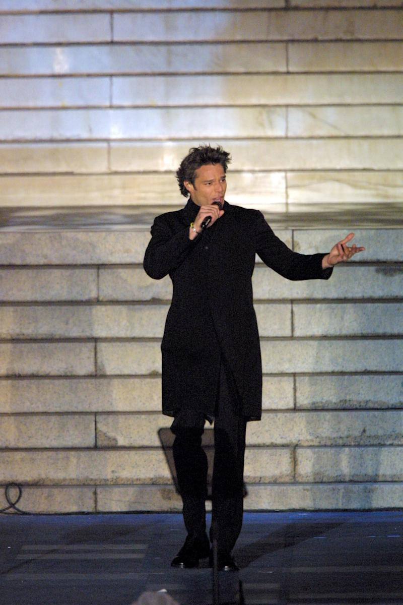 Ricky Martin performs at the opening ceremony celebration for the inauguration of George W. Bush as the 43rd President of the United States. (Photo by Rick Friedman/Corbis via Getty Images)