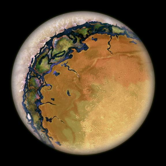 Artist's concept of a planet where one side always faces its star, with the dark side covered in ice.